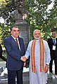 The Prime Minister, Shri Narendra Modi shaking hands with the President of Tajikistan, Mr. Emomali Rahmon after unveiling the bust of Gurudev Rabindranath Tagore, at Bukhoro Square, in Dushanbe, Tajikistan on July 13, 2015.jpg