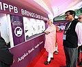 The Prime Minister, Shri Narendra Modi visiting exhibition at the launch of the India Post Payments Bank, in New Delhi on September 01, 2018. The Secretary (Post), Shri Ananta Narayan Nanda is also seen.JPG