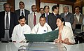 The Union Minister of Railways, Mamata Banerjee giving finishing touches to the Railway Budget 2011-12, in New Delhi on February 24, 2011.jpg