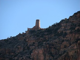 Tanner Trail - The Desert View Watchtower from the Tanner Trail.
