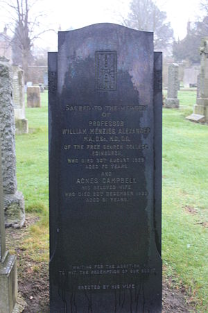 William Menzies Alexander - The grave of Prof William Menzies Alexander, Morningside Cemetery, Edinburgh