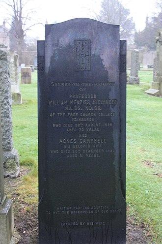 William Menzies Alexander - The grave of Prof William Menzies Alexander, Morningside Cemetery, Edinburgh