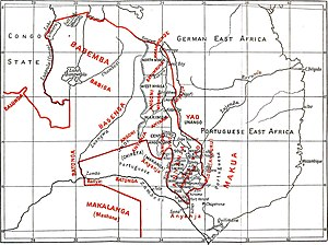 Tumbuka people - A 1906 British Central Africa map showing the distribution of various ethnic groups. Tumbuka are marked as Batumbuka and shown near the German East Africa region in this map.