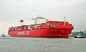 Hamburg Süd - The container ship Cap San Antonio heading to the Port of Hamburg, April 2014