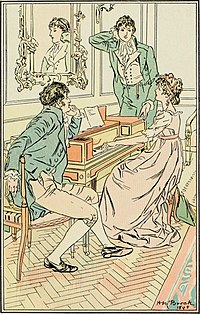 Illustration en couleurs. Elizabeth assise au piano, entre Darcy, debout, et le colonel, assis