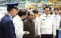 The senior officials of the Korean Aerospace Industries explain the products of the company to the visiting Defence Minister, Shri A. K. Antony as he takes a walk through the assembly line at Sacheon on September 04, 2010.jpg