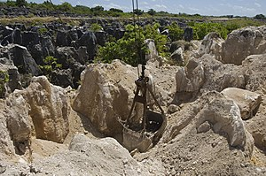 Economy of Nauru - Limestone pinnacles remain after phosphate mining removed the guano at one of Nauru's secondary mines