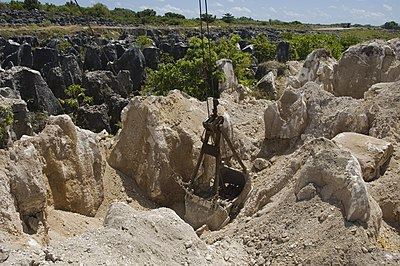 Mining of phosphate rock in Nauru The site of secondary mining of Phosphate rock in Nauru, 2007. Photo- Lorrie Graham (10729889683).jpg