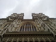 The west face of Westminster Abbey from below