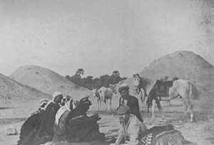 James Theodore Bent - Theodore Bent receiving visitors at the Dilmun burial mounds in Bahrain.