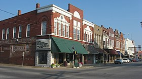 The downtown historic district in Boonville is listed on the National Register of Historic Places