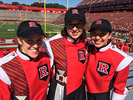 Three Marching Scarlet Knights perform at a Rutgers football game at High Point Solutions Stadium