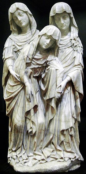 Alabaster - Three Maries, alabaster sculpture by Master of the Rimini Crucifixion (c. 1430), National Museum, Warsaw.