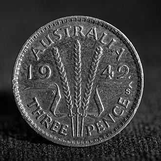 Threepence (Australian) - A 1942 Australian threepence (reverse) minted in San Francisco