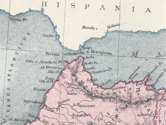 Thymiaterium is seen here at the lower left, on what is now the Atlantic coast of Morocco. Thymiaterium and Other Ancient Northwest African Settlements.png