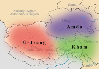 Kham - Map showing the Tibetan region of Kham