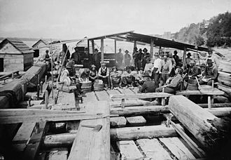 Timber rafting - Cookery on J.R. Booth's raft, circa 1880. The raftsmen cooked, ate and slept on these rafts as they floated down the river.
