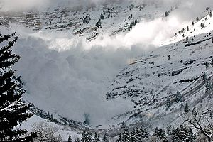 Avalanche on the backside (east) of Mount Timpanogos, Utah at Aspen Grove trail