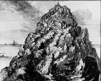 Exomvourgo - Illustration of the citadel on Tinos by Olfert Dapper in 1703