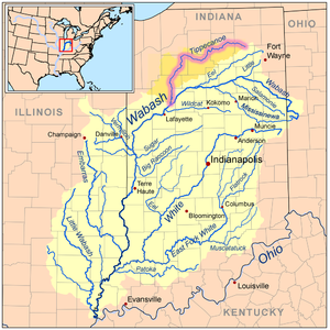 Tippecanoe River - Map of the Wabash River watershed with the Tippecanoe River highlighted.