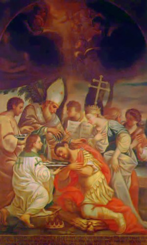 Arsacid dynasty of Armenia - Baptism of king Tiridates III (Trdat III) by St. Gregory the Enlightener.