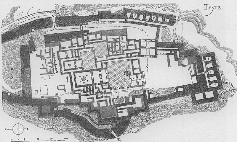 File:Tiryns, map of the palace and the surrounding fortifications.png