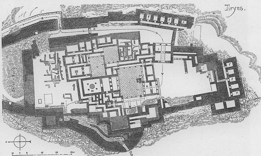 Tiryns, map of the palace and the surrounding fortifications