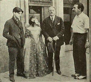 George Fitzmaurice - On the set of To Have and to Hold 1922. left to right, Arthur Rankin, Anne Cornwall, John Drew and George Fitzmaurice. Drew was visiting the production.