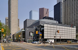 Four Seasons Centre - The Four Seasons Centre seen from University Avenue with sun shades covering its glazed facade.