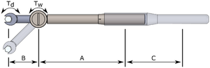Diagrammatic torque wrench with extensions. Showing lengths and torques referenced in the section text.