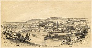 Usk - Town of Usk and River from Llanbadoc Rock; 1860.