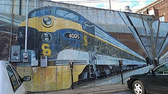 Trains (mural) - Image: Trains Mural by Jeff and Gregory Ackers Columbus, Ohio 1989 01
