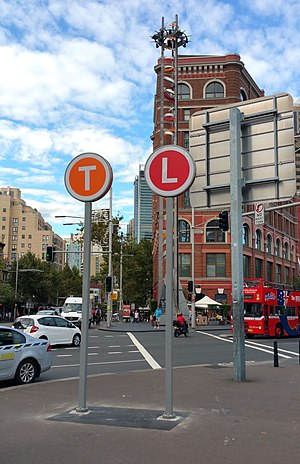 Transport for New South Wales - Transport for NSW is introducing unified signage and wayfinding across its network. These T (train) and L (light rail) signs identify the transport modes available from Central station.