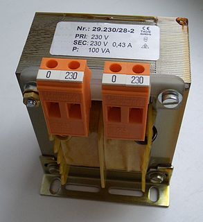 Isolation transformer transformer used to transfer electrical power from a source of alternating current (AC) power to some equipment or device while isolating the powered device from the power source