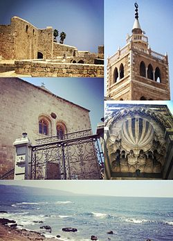 Clockwise from top left: Citadel of Raymond de Saint-Gilles, Mansouri Great Mosque minaret, Mamluk architecture, bay view, and Catholic Syriac church