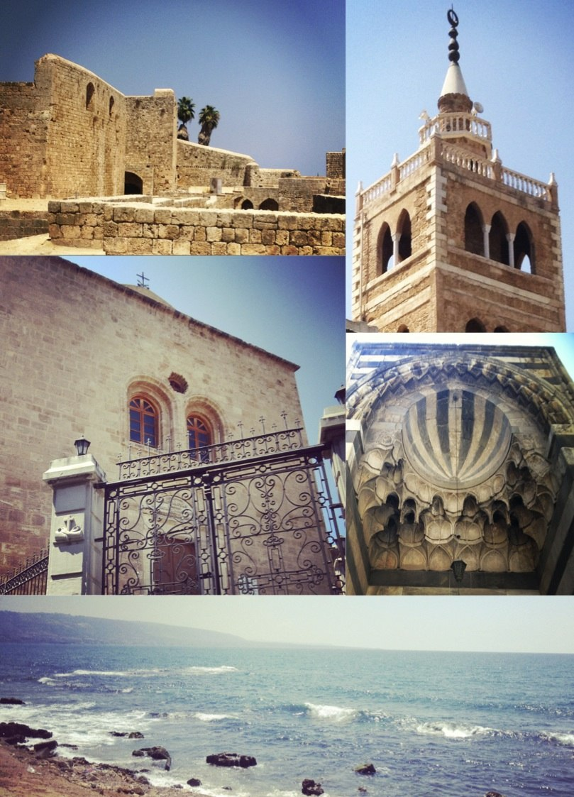 Clockwise from top left: Citadel of Raymond de Saint-Gilles, Mansouri Great Mosque minaret, Mamluk architecture, bay view, and a Syriac Catholic church