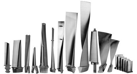A selection of impulse turbine blades - Steam turbine
