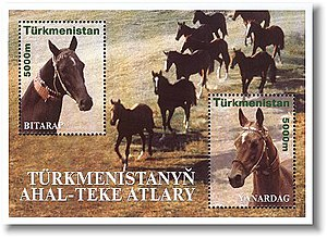 Postage stamps and postal history of Turkmenistan - A Turkmenistan miniature sheet from 2001 showing horses