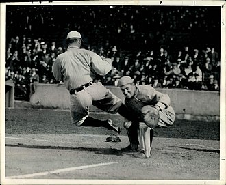 History of sports in the United States - Cobb violently crashing into St. Louis Browns catcher Paul Krichell in 1912 to make him drop the ball.