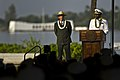 U.S. Navy Rear Adm. Frank Ponds, at lectern, the commander of Navy Region Hawaii, gives opening remarks at the World War II Valor in the Pacific National Monument in Honolulu 121207-F-MQ656-248.jpg