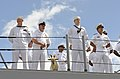 U.S. Sailors assigned to the guided missile cruiser USS Lake Erie (CG 70), man the rails as the ship returns to Joint Base Pearl Harbor-Hickam, Hawaii July 16, 2014, from a four-month Western Pacific deployment 140716-N-QG393-030.jpg