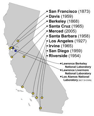 This map shows the locations of the ten UC campuses and the national laboratories associated with UC. A third national laboratory associated with UC is in Los Alamos, New Mexico.