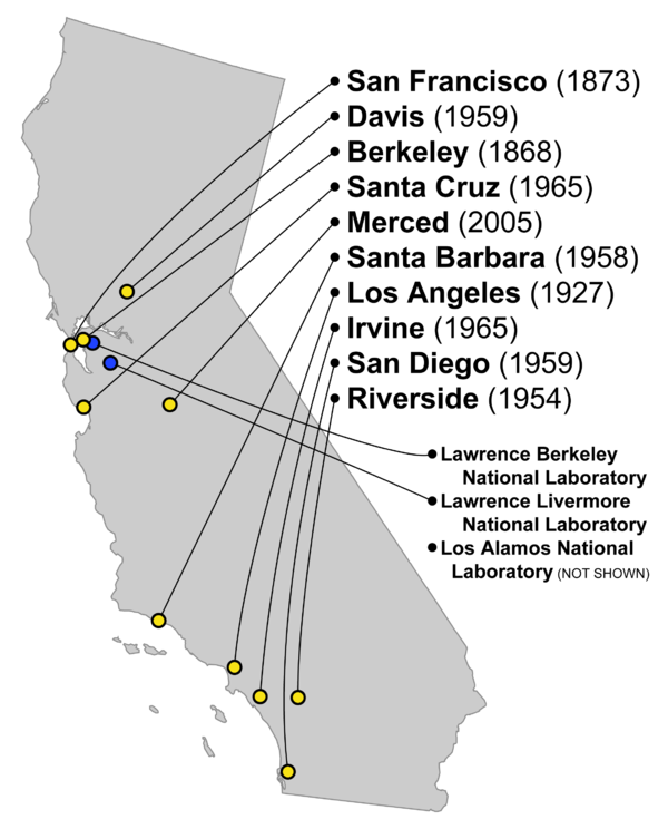 This map shows the locations of the ten UC campuses and the national laboratories associated with UC. A third national laboratory associated with UC is in Los Alamos, New Mexico. UC campuses and labs.png
