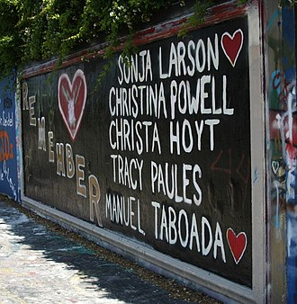 Danny Rolling - Memorial to the five students on the 34th Street Wall in Gainesville, first painted in 1990.