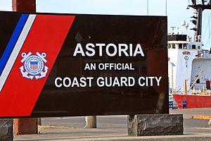 """Coast Guard City - A sign in Astoria, Oregon designating that city as a """"Coast Guard City."""""""