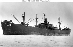 USS Cybele (AKS-10) At anchor, c. 1945-1946
