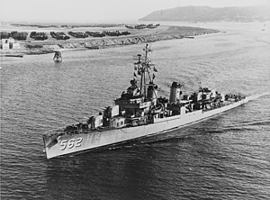 USS Robinson (DD-562) steaming into San Diego harbor in 1953