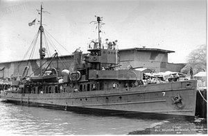 Alabama Drydock and Shipbuilding Company - USS ''Swan'', one of three minesweepers produced for the Navy in 1919.