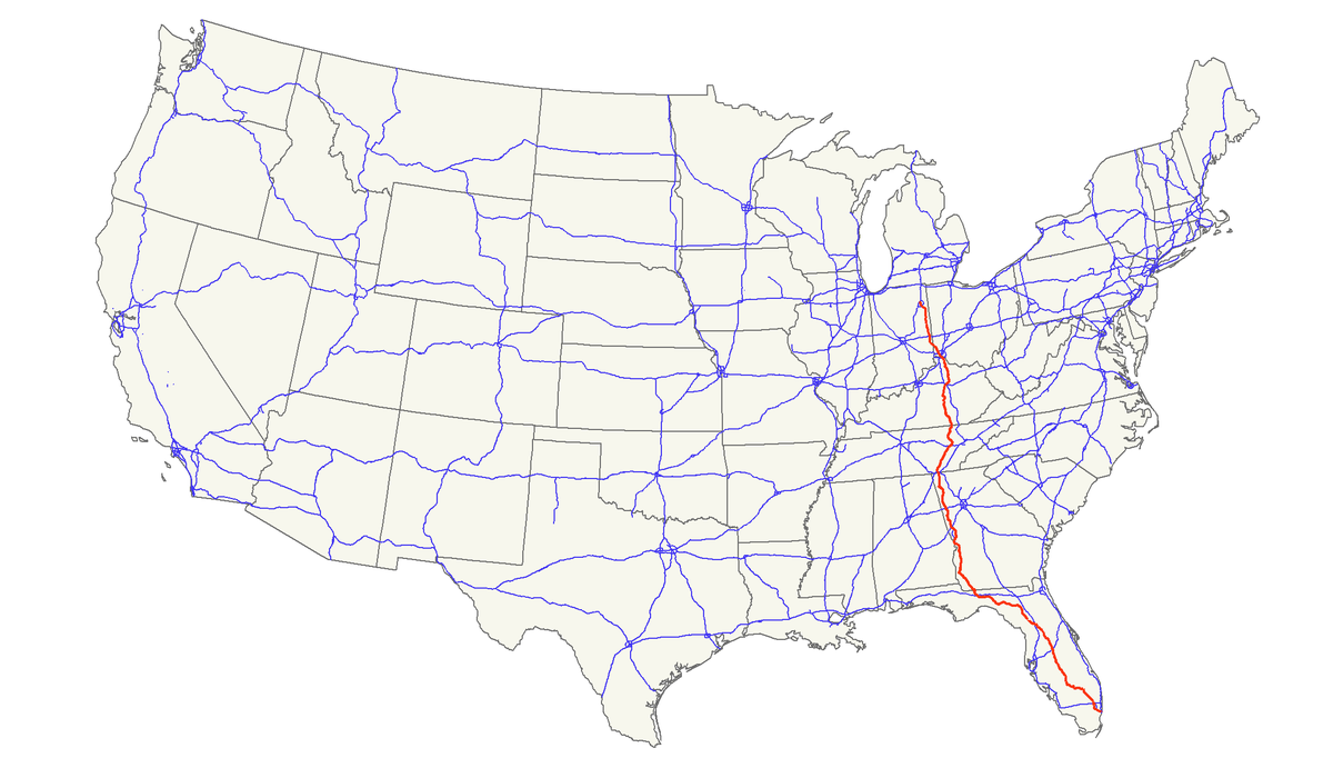 US Route Wikipedia - Us 27 map