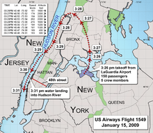 The aircraft headed approximately north after takeoff, then wheeled anti-clockwise to follow the Hudson Southwards